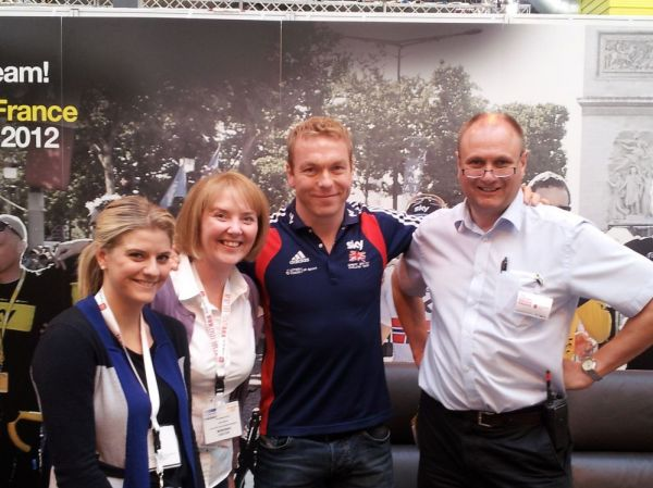 Cycle-SOS team meet Sir Chris Hoy at the Cycle Show Trade Day 27/09/12